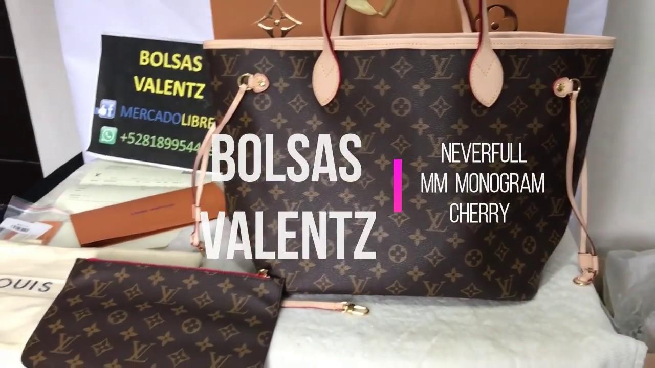 8c8d5432e Louis Vuitton NEVERFULL MM MONOGRAM CERISE Unboxing details. Bolsas Valentz  MTY