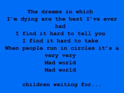 Gary Jules ft. Michael Andrews - Mad World w/Lyrics