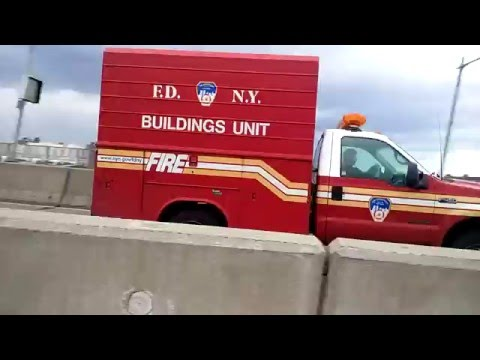 FDNY Building Unit Passing By On The Triborough Bridge In Manhattan, NYC