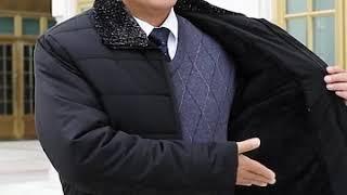 [해외직구] 중장년 야상 남성 아빠 숏 패딩 겨울 기모…