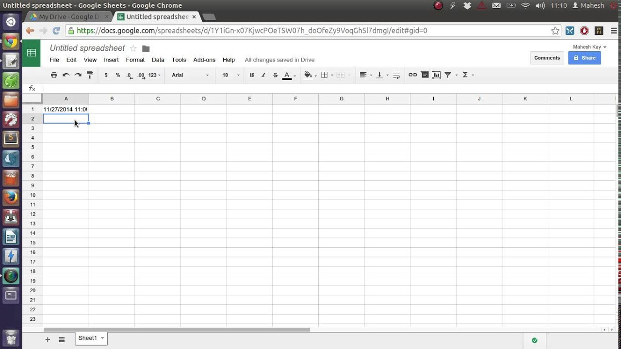 Add the Current Date Time to a Google Spreadsheet - YouTube