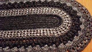 Вязание овального коврика из полиэтиленовых пакетов.  Ряды 14 -16