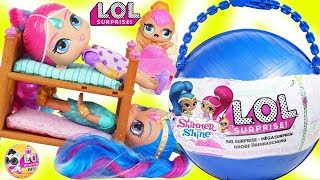 LOL Surprise Dolls + Lil Sisters Open GIANT Shimmer and Shine Big Surprise Ball - DIY Customized Toy