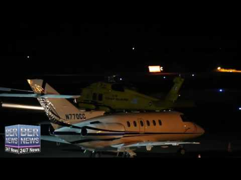 US Coast Guard Helicopter & C-130 Take Off At Night In Bermuda, October 17 2016