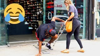 Falling With Crutches In Public Prank!!! (Melrose)