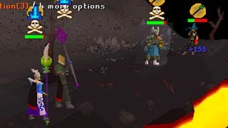 Deep wildy pure pking with my friends at Rune rocks and Chaos templ...