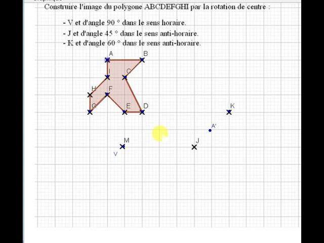 Rotation et construction au  rapporteur et au compas - Exercices Maths 4ème