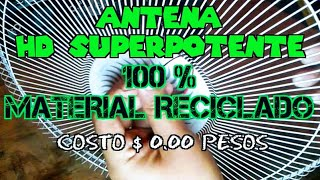 Antena HD SuPeR POTENTE para TV 📺 100 % Material Reciclado costo $ 0.00 pesos