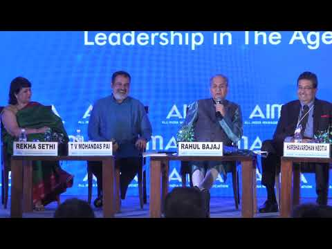 T V Mohandas Pai in conversation with Rahul Bajaj at AIMA's 62nd Foundation Day