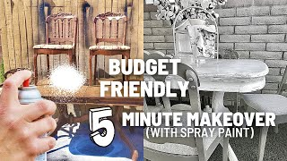 Budget Friendly Farmhouse Dining Set Makeover with Spray Paint...5 Minute Flip