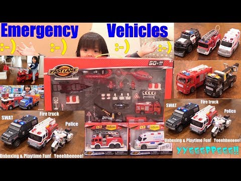 Police Car Toys, Water Shooting Fire Truck Toy, Ambulance Toy, Police Motorcycle and More! Toys!
