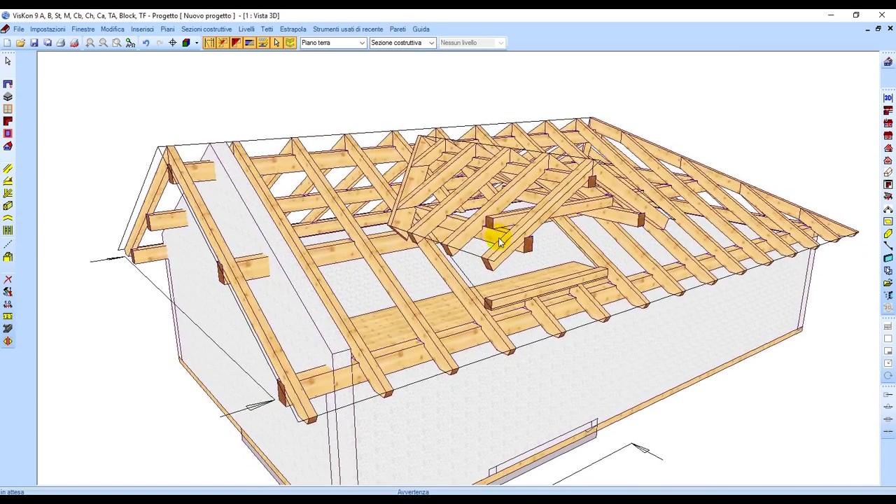 Progetto Capriata In Legno visione d'insieme dei software weto per progettare/fare tetti case e in  legno