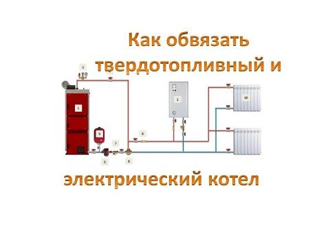 Схема обвязки твердотопливного  и электрического котла