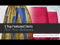 default - FLORIA Womens Solid Lightweight Knit Elastic Waist Flared Midi Skirt (S-3XL)