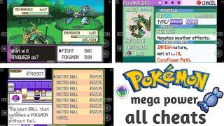 pokemon mega power cheat codes for rare candy, master ball, mega stone , walk through walls , etc