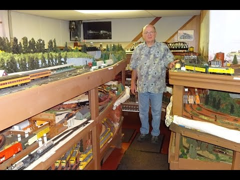 Large Model Railroad RR HO H.O. Scale Gauge Train Layout of Bill Otter 's trains Extended Cut 2 of 2