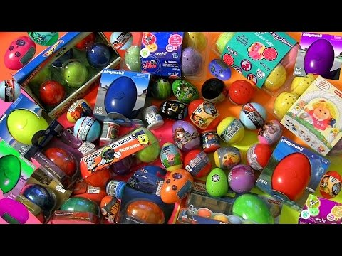 60 SURPRISE EGGS!!! Play-Doh Playmobil HotWheels FisherPrice Nickelodeon Disney POOH Build Cars MLP