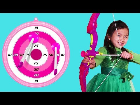 Jannie Plays with Archery Bow Toy