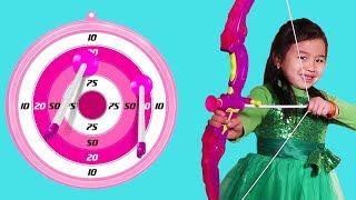Jannie Plays with Archery Bow Toy