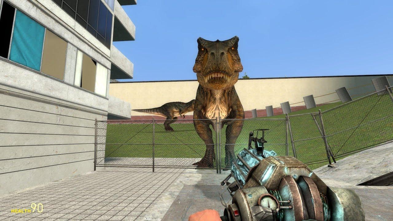 скачать мод на гаррис мод динозавры