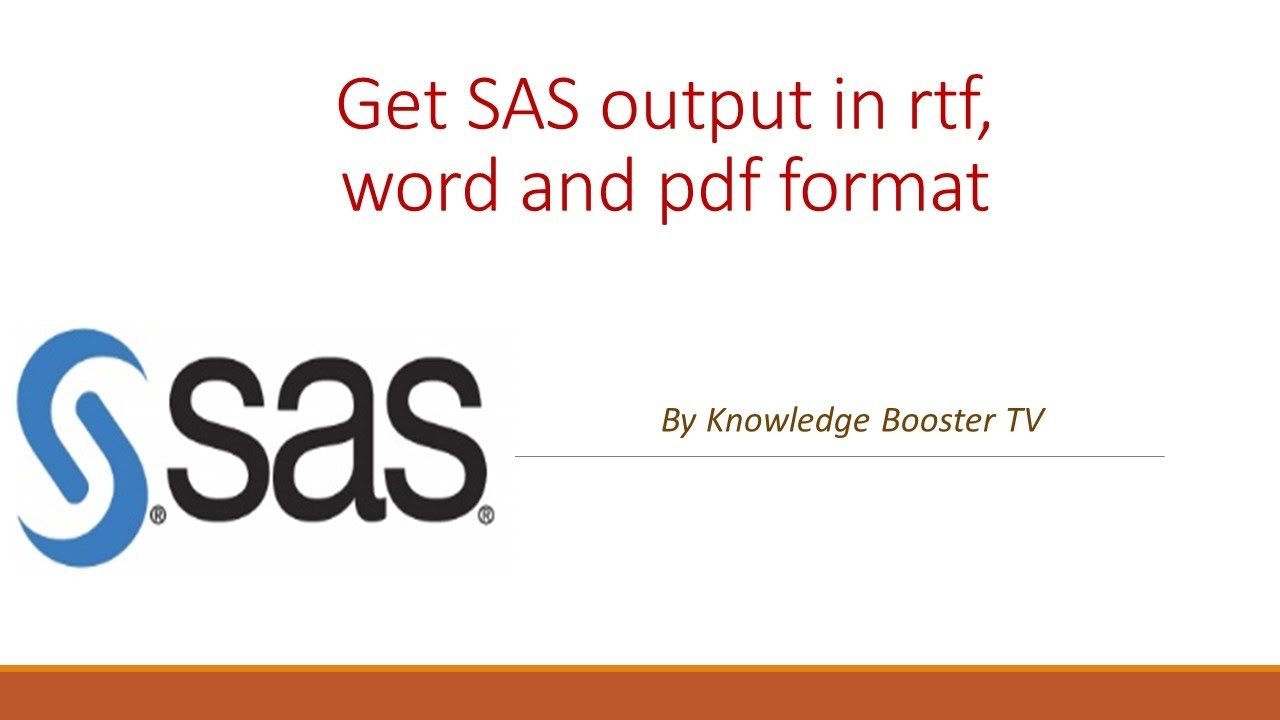 get sas output in rtf word and pdf youtube