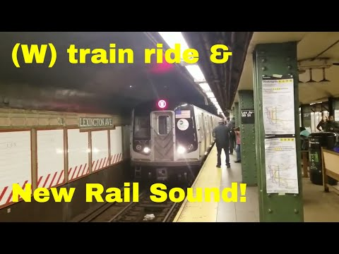 MTA NYC Subway: R160B (W) ride from Lexington Ave - 59 St to Queensboro Plaza with New Rail Sound