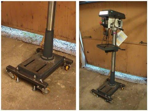 Fahrvorrichtung für Ständerbohrmaschine selber bauen, homemade Drill Press Dolly or Mobile Base