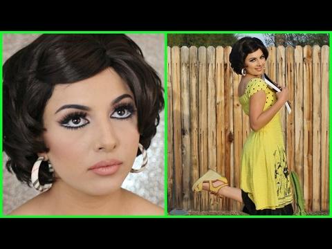 EGYPTIAN SIXTIES MAKEUP (with subs) 😍 مكياج وشعر وفستان سعاد حسني | سلسلة ثقافات الشعوب