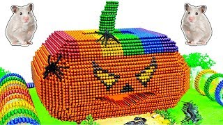 DIY - Build Awesome Hamster House Halloween Pumpkin With Magnetic Balls (Satisfying) - Magnet Balls