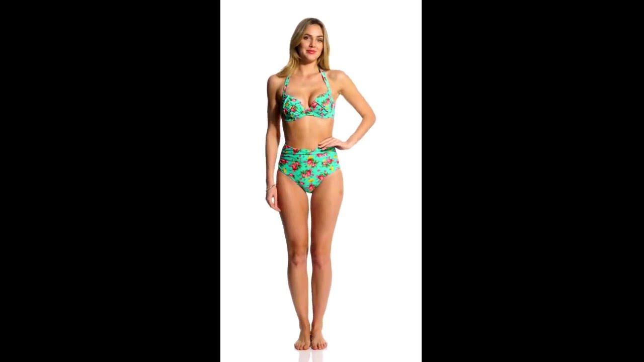 810964e73e5d4 Betsey Johnson Swimwear Flower Bomb Molded Underwire Bump Me Up Halter  Bikini Top | SwimOutlet.com