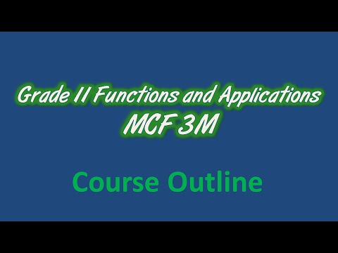 Grade 11 Functions and Applications (Mixed) MCF3M