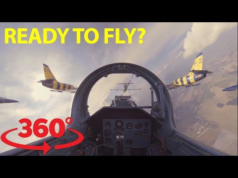Jump in the cockpit and fly wing to wing with fighter jets in 360