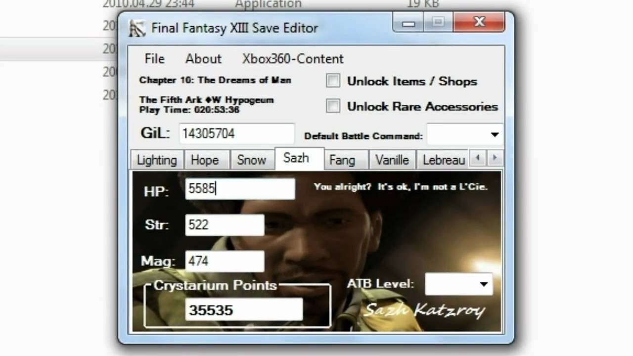 NEW 20100429 Final Fantasy XIII Save Editor Gil CP HACK