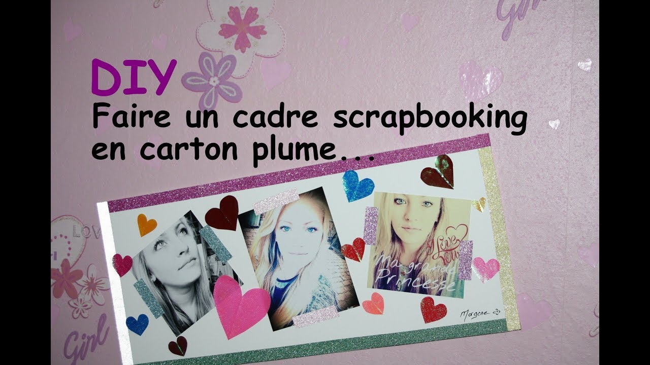 diy faire un cadre en carton plume effet scrap youtube. Black Bedroom Furniture Sets. Home Design Ideas