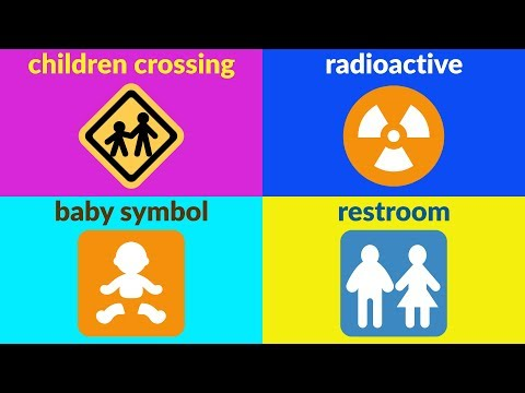 signs-and-symbols-vocabulary-for-beginners,-kids,-kindergarten-with-emojis