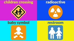SIGNS AND SYMBOLS Vocabulary for Beginners, Kids, Kindergarten with Emojis