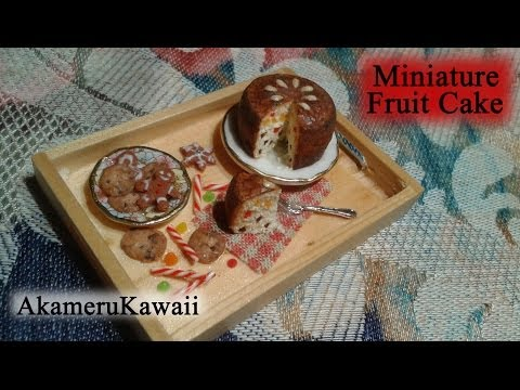 Miniature Fruit Cake - 1:12 scale dollhouse food tutorial - Polymer clay