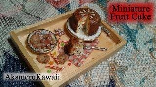 Miniature Fruit Cake - 1:12 scale dollhouse food tutorial - Polymer clay