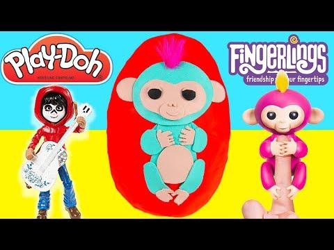 GIANT FINGERLINGS Play Doh Egg of Monkey Mia, Bella, LOL Surprise, Pixar Coco Pt 3