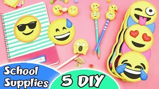 5 DIY SCHOOL SUPPLIES EMOJIS - Back to School | aPasos Crafts DIY