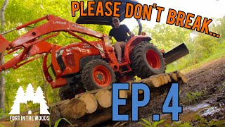 Ep. 4 Fort Building: Don't Fall In The Creek! | Building a Tractor Bridge Part 2 (FITW)