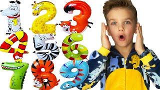 Учимся считать с воздушными шариками в виде животных