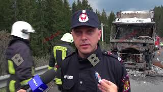 Incendiu la un TIR, in Pasul Tihuta. Pericol de explozie