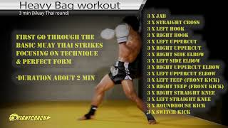 Cool Muay Thai Kickboxing/MMA Heavy Bag Workout (3-5 x 3 min)