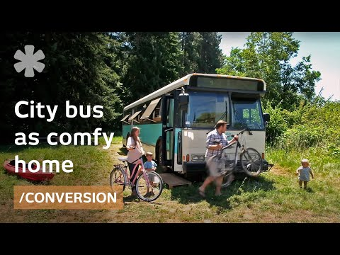 Old Denver city bus transformed as young family's comfy home
