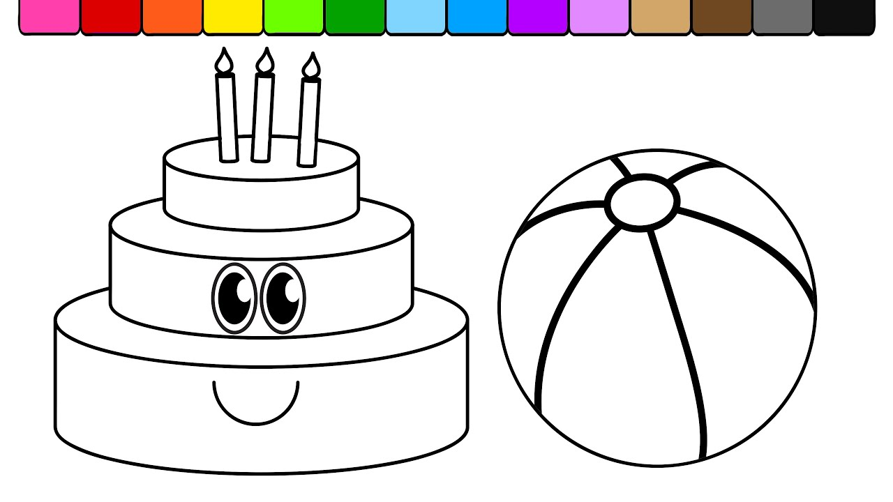 Learn Colors and Color this Smiley Face Birthday Cake and Beach