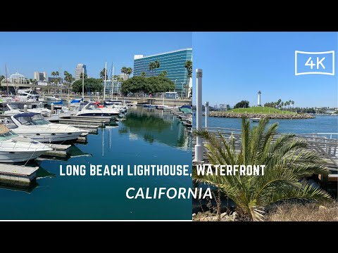 4K Driving downtown Long Beach  CA. || stroll around Lighthouse and Waterfront.