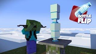 Monster School : BOTTLE FLIP AT THE MOUNTAIN TOP CHALLENGE - Minecraft Animation