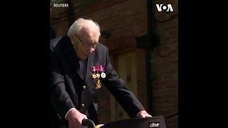 99岁英国老兵挑战步行百圈 为医护人员筹得六百万善款