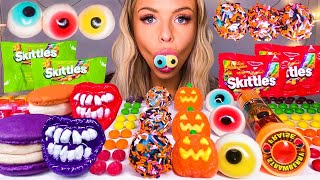 ASMR HALLOWEEN CANDY, EDIBLE FLASHLIGHT, PUMPKIN CANDY, SKITTLES, EYEBALL JELLY, MACARONS MUKBANG 먹방